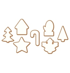 Set 4 of Christmas and New year gingerbread with vector image vector image