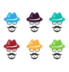set of face wear hat vector image