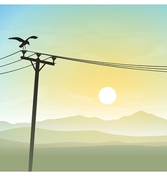 A Bird on Telephone Lines vector image vector image