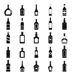 alcohol bottles set of black icons vector image