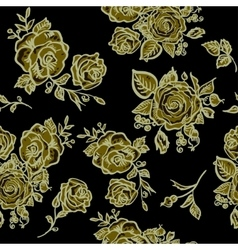 Art Deco floral seamless pattern with roses vector image vector image