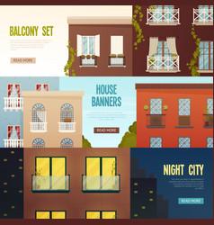 balcony house banners set vector image
