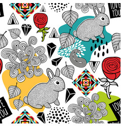 endless pattern with cute animals and abstract vector image vector image