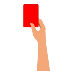 Hand Holding A Red Card Isolated On White vector image vector image