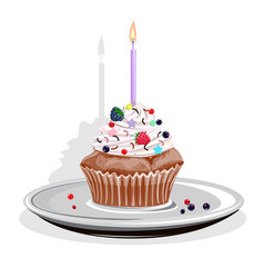 realistic cupcake with candles and berries vector image