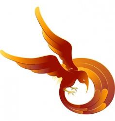 swooping fiery bird vector image vector image