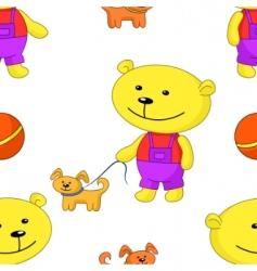 teddy bear with dog vector image