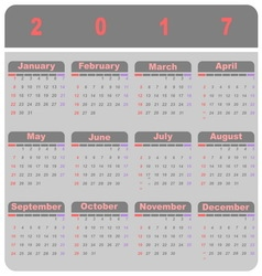 Beautiful demo 2017 calendar template vector image vector image