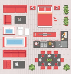 Furniture top view vector image