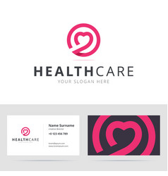 Healt care logo and business card template vector image