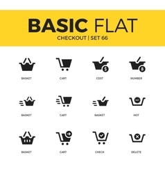 Basic set of checkout icons vector image vector image