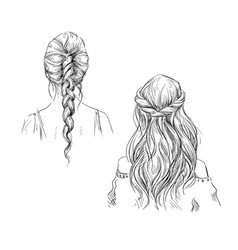 braids hairstyle drawing vector image vector image