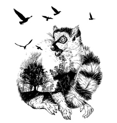 Double exposure hand drawn ring-tailed lemur vector