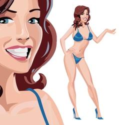 Girl in blue bikini vector image vector image