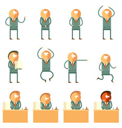 set of flat human business icons vector image vector image