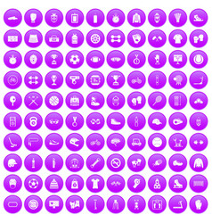 100 sport accessories icons set purple vector