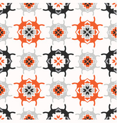 abstract geo folk art grid orange and white vector image