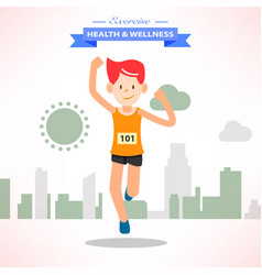active young happy man running and training for vector image