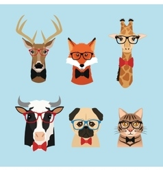 Animal hipster style icon set vector