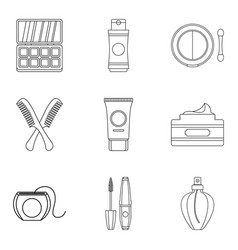 backwashing icons set outline style vector image