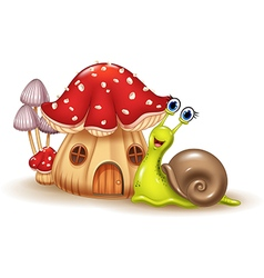 Beautiful mushroom house and happy snail cartoon vector image