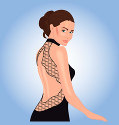 Beautiful woman in black dress with lace decor vector
