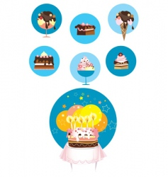 birthday cake and desserts vector image vector image