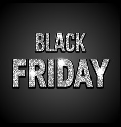 black friday silver glitter text on dark vector image
