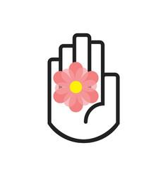 black line hand symbol holding pink flower vector image