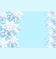 blue realistic paper cut snowflakes vector image