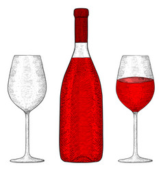 bottle red wine with glasses hand drawn vector image