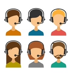 Call Center Operator with Headset Icon Set vector