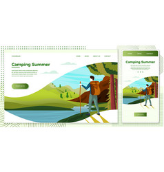 camping man with mountains vector image