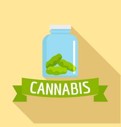 Cannabis glass jar logo flat style vector
