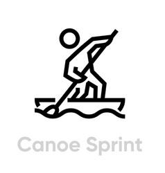 canoe sprint sport icons vector image