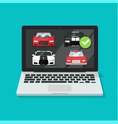 Car auto auction online on laptop computer or pc vector