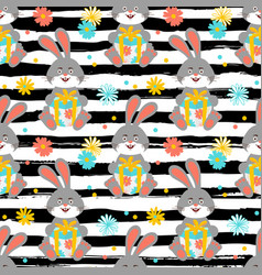 cartoon bunny pattern cute rabbit holds a gift vector image