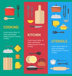 Cartoon cookware banner vecrtical set vector