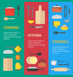 cartoon cookware banner vecrtical set vector image