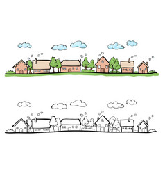 Cartoon hand drawing of small town vector