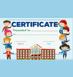 Certificate template with kids and school building vector