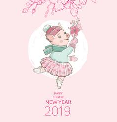 Chinese new year 2019 pig with sakura flower vector