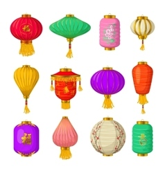 Chinese paper lanterns icons set cartoon style vector image