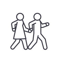 couple walks holding hands together linear icon vector image