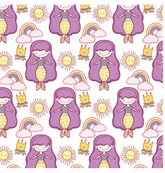 cute mermaids fairy tales pattern vector image
