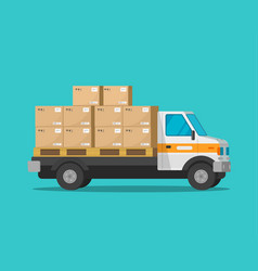 Delivery truck with parcel cargo boxes vector
