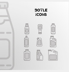 design of linear icons of bottles cans vector image