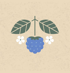 Dewberry with leaves and flower vector
