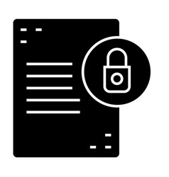 Document with lock solid icon list with padlock vector