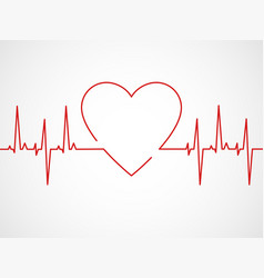 Ekg with heart heartbeat ecg line monitor vector